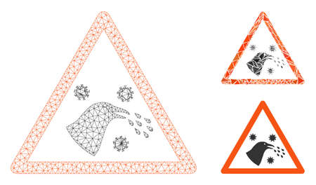 Mesh bird infection warning model with triangle mosaic icon. Wire carcass polygonal mesh of bird infection warning. Vector mosaic of triangle elements in variable sizes, and color tones. Illusztráció