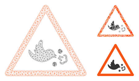 Mesh bird influenza warning model with triangle mosaic icon. Wire frame polygonal mesh of bird influenza warning. Vector composition of triangle parts in different sizes, and color tinges.