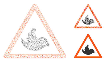 Mesh bird warning model with triangle mosaic icon. Wire carcass triangular mesh of bird warning. Vector composition of triangle parts in different sizes, and color tinges. Ilustração