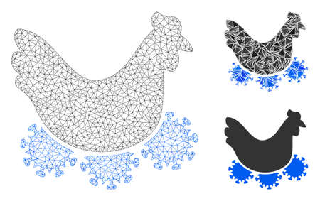 Mesh chicken virus model with triangle mosaic icon. Wire carcass polygonal mesh of chicken virus. Vector mosaic of triangle elements in different sizes, and color hues. Abstract 2d mesh chicken virus,