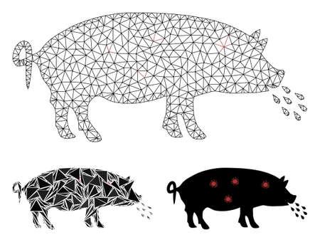 Modèle de peste de cochon en maille avec icône de mosaïque triangulaire. Carcasse en fil de fer à mailles triangulaires de peste porcine. Mosaïque vectorielle de pièces triangulaires de différentes tailles et tons de couleur. Peste abstraite de porc de maille plate,
