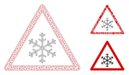 Modello di avviso neve in rete con icona a triangolo a mosaico. Wire frame maglia poligonale di avvertimento neve. Mosaico vettoriale di parti triangolari di dimensioni variabili e tinte di colore. Avvertimento astratto della neve della maglia 2d, Vettoriali