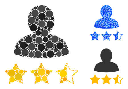 Person rating mosaic of small circles in various sizes and color hues, based on person rating icon. Vector filled circles are united into blue mosaic.