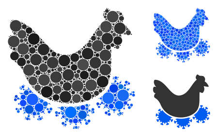 Chicken virus mosaic of filled circles in various sizes and color tinges, based on chicken virus icon. Vector filled circles are grouped into blue collage.