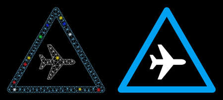 Bright mesh airplane danger icon with sparkle effect. Abstract illuminated model of airplane danger. Shiny wire frame triangular mesh airplane danger icon. Vector abstraction on a black background.