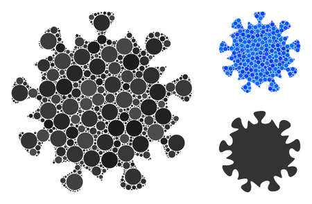 MERS virus mosaic of small circles in various sizes and color tones, based on MERS virus icon. Vector random circles are united into blue mosaic. Dotted MERS virus icon in usual and blue versions.