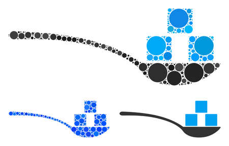 Sugar spoon mosaic of circle elements in different sizes and color tints, based on sugar spoon icon. Vector round elements are organized into blue mosaic.