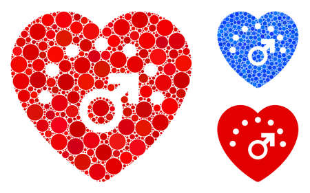 Love meter composition of round dots in various sizes and color tones, based on love meter icon. Vector round dots are grouped into blue collage. Dotted love meter icon in usual and blue versions. Illustration