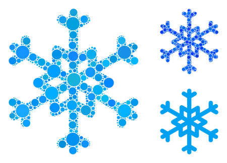 Snowflake mosaic of circle elements in different sizes and color hues, based on snowflake icon. Vector circle elements are united into blue collage. Dotted snowflake icon in usual and blue versions.