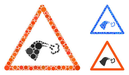 Bird flu warning composition of circle elements in various sizes and color tints, based on bird flu warning icon. Vector circle elements are grouped into blue composition.