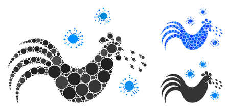 Bird flu mosaic of circle elements in different sizes and color tints, based on bird flu icon. Vector round elements are united into blue mosaic. Dotted bird flu icon in usual and blue versions.