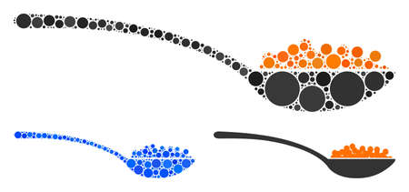 Caviar spoon composition of small circles in different sizes and color tints, based on caviar spoon icon. Vector small circles are united into blue mosaic. Illusztráció