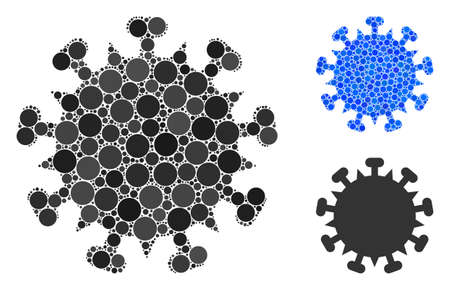 SARS virus composition of filled circles in different sizes and color hues, based on SARS virus icon. Vector small circles are combined into blue composition.