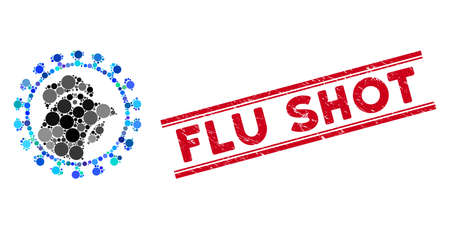 Collage chicken flu virus icon and grunge stamp seal with Flu Shot phrase between double parallel lines. Mosaic vector is formed with chicken flu virus icon and with randomized round items.