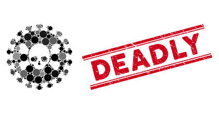 Collage deadly virus icon and corroded stamp seal with Deadly text between double parallel lines. Mosaic vector is created with deadly virus icon and with scattered circle spots.