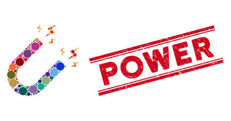 Mosaic magnet power icon and grunge stamp seal with Power caption between double parallel lines. Mosaic vector is composed with magnet power pictogram and with randomized spheric elements.