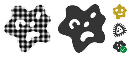 Amoeba halftone vector icon and solid version. Illustration style is dotted iconic Amoeba icon symbol on a white background. Halftone pattern is circle pixel. Some bonus pictograms.