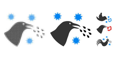 Bird flu infection halftone vector icon and solid version. Illustration style is dotted iconic Bird flu infection icon symbol on a white background. Halftone texture is round pixel. Some bonus icons.