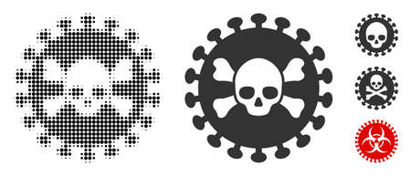 Deadly virus halftone vector icon and solid version. Illustration style is dotted iconic Deadly virus icon symbol on a white background. Halftone matrix is round items. Some bonus pictograms.