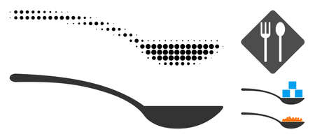 Empty spoon halftone vector icon and solid version. Illustration style is dotted iconic Empty spoon icon symbol on a white background. Halftone matrix is round pixel. Some bonus pictograms.