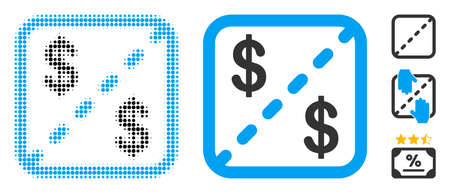 Financial shares halftone vector icon and solid version. Illustration style is dotted iconic Financial shares icon symbol on a white background. Halftone pattern is round elements. Some bonus icons. Stock Illustratie