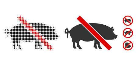 Forbidden pork halftone vector icon and solid version. Illustration style is dotted iconic Forbidden pork icon symbol on a white background. Halftone matrix is round spots. Some bonus icons. Stock Illustratie