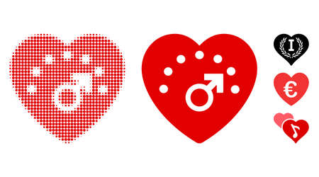Love meter halftone vector icon and solid version. Illustration style is dotted iconic Love meter icon symbol on a white background. Halftone matrix is circle pixel. Some bonus pictograms.