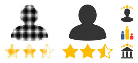 Person rating halftone vector icon and solid version. Illustration style is dotted iconic Person rating icon symbol on a white background. Halftone pattern is round dots. Some bonus pictograms.