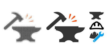 Smithy halftone vector icon and solid version. Illustration style is dotted iconic Smithy icon symbol on a white background. Halftone texture is circle items. Some bonus icons. Illustration