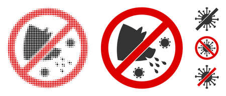Stop swine flu halftone vector icon and solid version. Illustration style is dotted iconic Stop swine flu icon symbol on a white background. Halftone pattern is circle items. Some bonus icons. Ilustrace