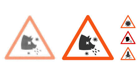Swine flu warning halftone vector icon and solid version. Illustration style is dotted iconic Swine flu warning icon symbol on a white background. Halftone pattern is round dots. Some bonus icons. Ilustrace