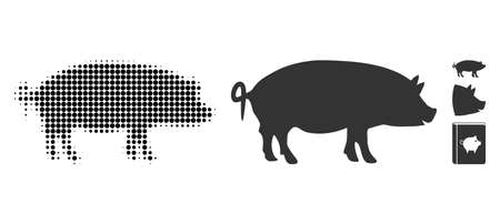 Swine halftone vector icon and solid version. Illustration style is dotted iconic Swine icon symbol on a white background. Halftone pattern is round blots. Some bonus icons.