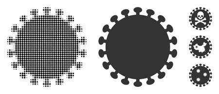 Virus shell halftone vector icon and solid version. Illustration style is dotted iconic Virus shell icon symbol on a white background. Halftone texture is round spots. Some bonus pictograms. Vektorové ilustrace