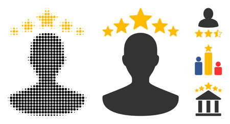 User rating halftone vector icon and solid version. Illustration style is dotted iconic User rating icon symbol on a white background. Halftone matrix is circle dots. Some bonus pictograms.