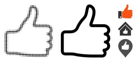 Icône de vecteur de demi-teinte et version solide du pouce vers le haut. Le style d'illustration est le symbole de l'icône du pouce vers le haut en pointillé sur un fond blanc. La matrice de demi-teintes est constituée d'éléments de cercle. Quelques pictogrammes bonus. Vecteurs