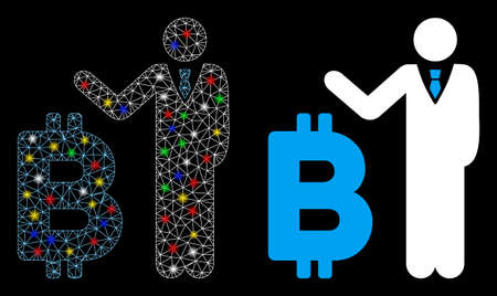 Glossy mesh Bitcoin banker icon with glitter effect. Abstract illuminated model of Bitcoin banker. Shiny wire frame polygonal mesh Bitcoin banker icon. Vector abstraction on a black background. Illustration