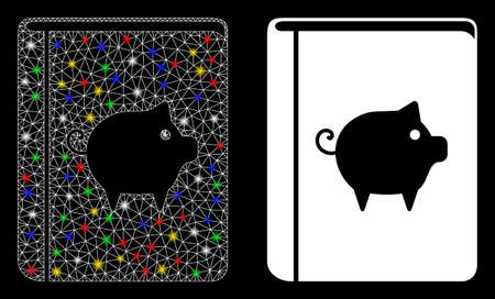 Glowing mesh pig handbook icon with glow effect. Abstract illuminated model of pig handbook. Shiny wire carcass triangular mesh pig handbook icon. Vector abstraction on a black background.