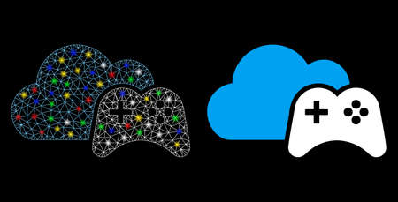 Glowing mesh cloud game controller icon with glare effect. Abstract illuminated model of cloud game controller. Shiny wire carcass polygonal mesh cloud game controller icon. Ilustração