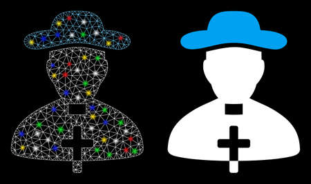Glossy mesh priest icon with glitter effect. Abstract illuminated model of priest. Shiny wire carcass polygonal mesh priest icon. Vector abstraction on a black background. Çizim
