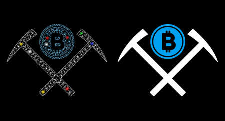 Glossy mesh Bitcoin mining hammers icon with glow effect. Abstract illuminated model of Bitcoin mining hammers. Shiny wire frame triangular mesh Bitcoin mining hammers icon. 向量圖像