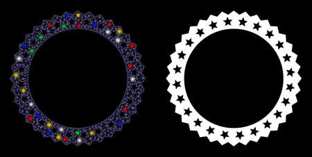 Glowing mesh starred rosette round frame icon with glare effect. Abstract illuminated model of starred rosette round frame. Shiny wire carcass triangular mesh starred rosette round frame icon. Ilustrace