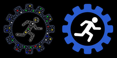 Flare mesh gear rat race icon with glow effect. Abstract illuminated model of gear rat race. Shiny wire carcass polygonal mesh gear rat race icon. Vector abstraction on a black background.