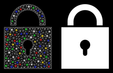 Glossy mesh lock icon with glitter effect. Abstract illuminated model of lock. Shiny wire frame triangular mesh lock icon. Vector abstraction on a black background.