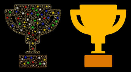 Flare mesh gold cup icon with glitter effect. Abstract illuminated model of gold cup. Shiny wire carcass polygonal mesh gold cup icon. Vector abstraction on a black background.