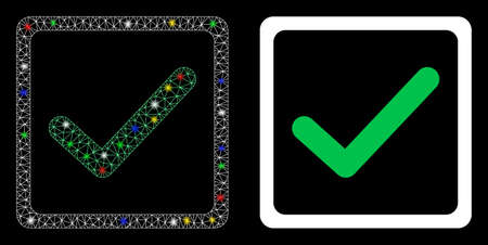Glossy mesh checkbox icon with lightspot effect. Abstract illuminated model of checkbox. Shiny wire frame polygonal mesh checkbox icon. Vector abstraction on a black background.