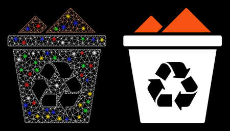 Flare mesh full recycle bin icon with glow effect. Abstract illuminated model of full recycle bin. Shiny wire carcass triangular mesh full recycle bin icon. Vector abstraction on a black background. Vettoriali