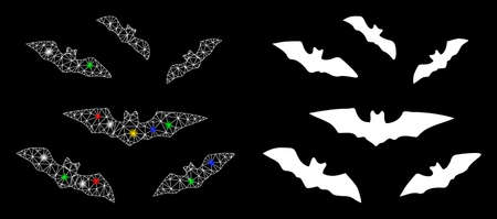Flare mesh halloween bats icon with glow effect. Abstract illuminated model of halloween bats. Shiny wire carcass polygonal mesh halloween bats icon. Vector abstraction on a black background.