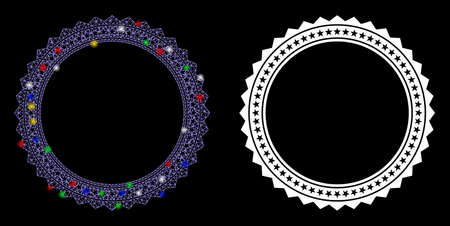 Bright mesh rosette circular star frame icon with glare effect. Abstract illuminated model of rosette circular star frame. Shiny wire frame triangular mesh rosette circular star frame icon.