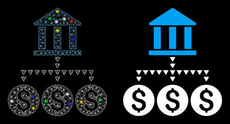 Glossy mesh bank structure icon with sparkle effect. Abstract illuminated model of bank structure. Shiny wire carcass polygonal mesh bank structure icon. Vector abstraction on a black background.