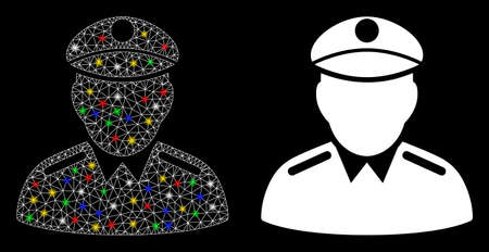 Glowing mesh colonel icon with glare effect. Abstract illuminated model of colonel. Shiny wire carcass polygonal mesh colonel icon. Vector abstraction on a black background.